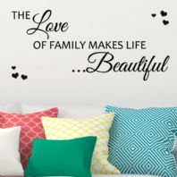 The Love of Family makes Life Beautiful WORD FAMILY ART ~ Wall sticker / decals